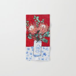Delft Bird Vase of Proteas on Red Hand & Bath Towel