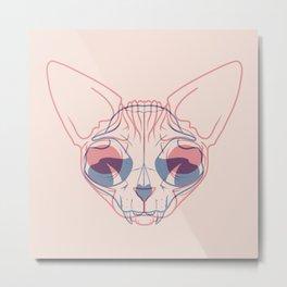 Sphynx Cat Skull Double Exposure - Overlay Hairless Kitty Illustration Metal Print