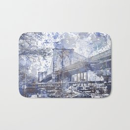 Brooklyn Bridge New York USA Watercolor blue Illustration Bath Mat