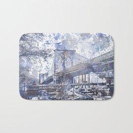 Brooklyn Bridge New York USA Watercolor blue Illustration Bath Mat
