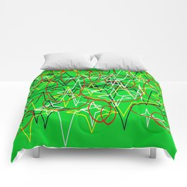 Geometric green star Comforters