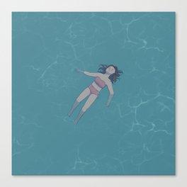 Girl Floating in the Ocean Canvas Print