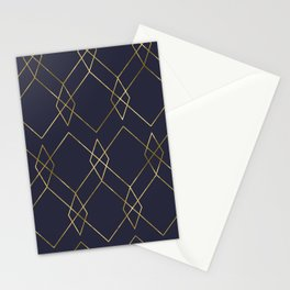 Gold Geometric Navy Blue Stationery Cards