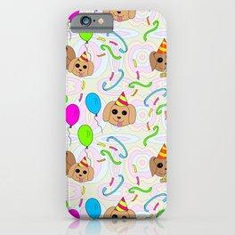 Crazy Kitsch Puppy Birthday Party Pattern iPhone Case