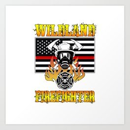 Wildland Firefighter Hero Thin Red Line Smokejumper Gift Art Print