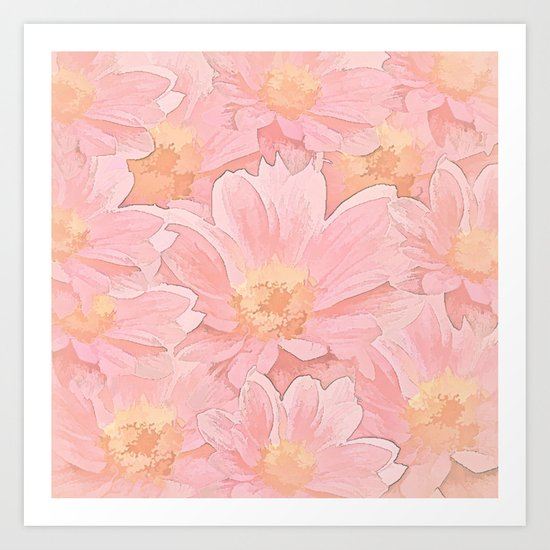 Pretty In Pink Painterly Floral Art Print