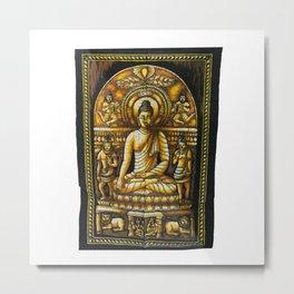 Vintage art Buddha Meditation Batik Wall Hanging Metal Print