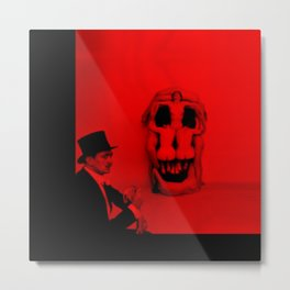 Salvador Dali with Women Skull (Photographic Art) Metal Print