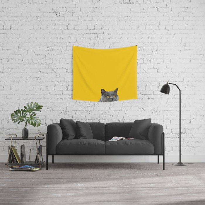 British Short-haired Cat Saffron Yellow Home Decor Pet Lovers Art ...