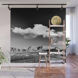 Black Desert Sky & Golden Moon // Red Rock Canyon Las Vegas Mojave Lune Celestial Mountain Range Wall Mural