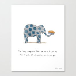 polka dot elephants serving us pie Canvas Print