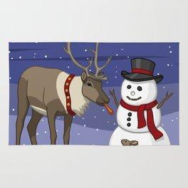 Santa's Reindeer Giving Snowman's Carrot Nose To Bunny Rug