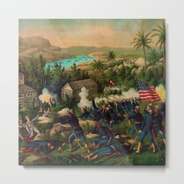 African American Buffalo Soldier 9th and 10th Cavalry at the battle of La Guarina Metal Print