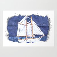 sailboat Art Prints featuring Sailboat by Michael P. Moriarty