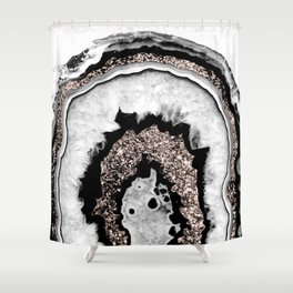 Gray Black White Agate with Rose Gold Glitter #1a #gem #decor #art #society6 Shower Curtain