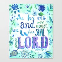 bible verse Canvas Prints featuring Purple and Blue Bible Verse by SilviaGarciaArt