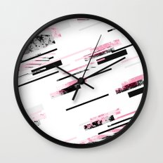 love stripes / black & pink Wall Clock