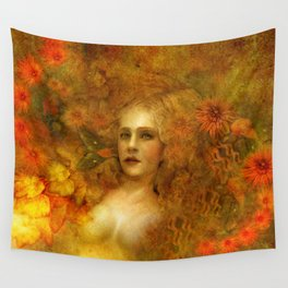 """""""Ophelia among golden oriental flowers"""" Wall Tapestry"""