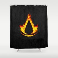 assassins creed Shower Curtains featuring Creed Assassin Flame by Electra