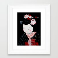 geisha Framed Art Prints featuring Geisha by Maripili
