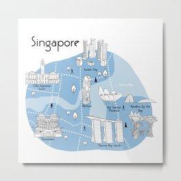 Singapore Map - Blue Metal Print