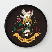hyrule Wall Clocks featuring hyrule airlines brown by Louis Roskosch