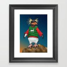 Rockhopper Penguin in Ugly Christmas Sweater Framed Art Print