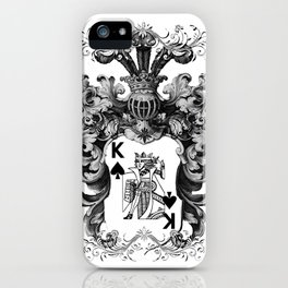 Poker King Spades black and white iPhone Case