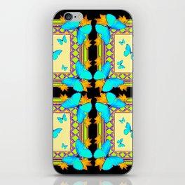 Southwestern Turquoise Butterflies Gold Black Patterns Art iPhone Skin