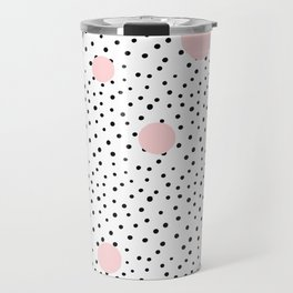 Pink And Black Modern Polka Dot Pattern Travel Mug
