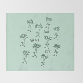 Run Forest Run Throw Blanket