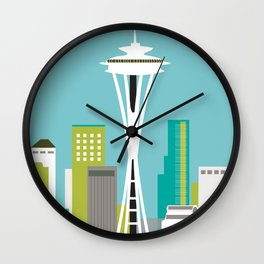Seattle, Washington - Skyline Illustration by Loose Petals Wall Clock