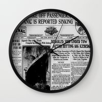 duvet cover Wall Clocks featuring THE HISTORY OF SHIP DUVET COVER by aztosaha