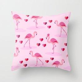 Pink Flamingos in Love pattern Throw Pillow