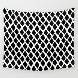 Rhombus Black And White Wall Tapestry