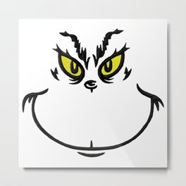 Grinch Face Metal Print