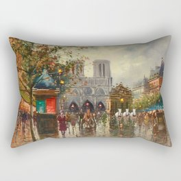 Cathedral Notre-Dame, Paris at Twilight by Antoine Blanchard Rectangular Pillow
