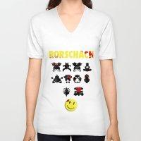 rorschach V-neck T-shirts featuring Rorschach by Gabriel Freire