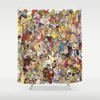 cartoon Shower Curtains featuring Cartoon Collage by Myles Hunt