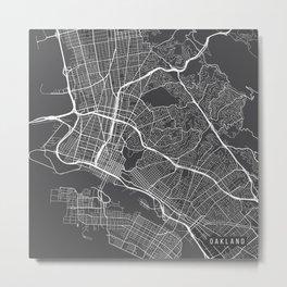 Oakland Map, USA - Gray Metal Print