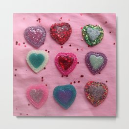 Glitter Hearts Club Metal Print