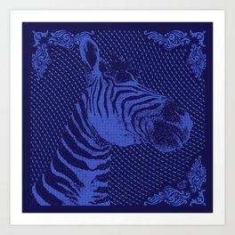 Zebra on bandana Art Print