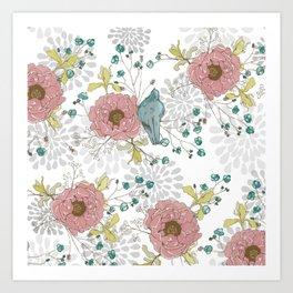 Blue Bird and Peonies Art Print