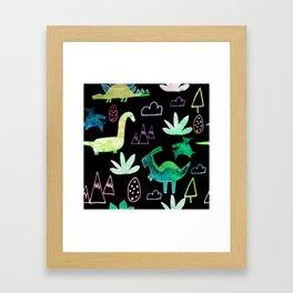 Dino Fun land Black Framed Art Print