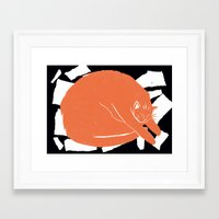 my mad fat diary Framed Art Prints featuring Fat Cat by The Printed Peanut