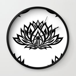Black and White Lotus Pattern Wall Clock