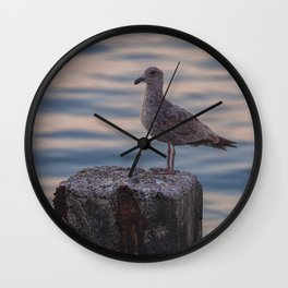 Gull on Pole Wall Clock