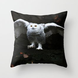 Snowy Owl With Open Wings Throw Pillow