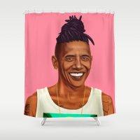 obama Shower Curtains featuring Hipstory - Barack Obama by Amit Shimoni