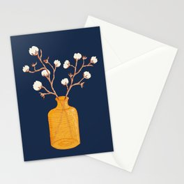 Still life - Cotton branches in a ochre vase Stationery Cards